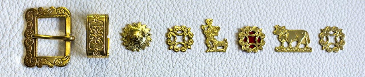 Verzierung Appenzeller Halsband, gold (mit Schnalle)